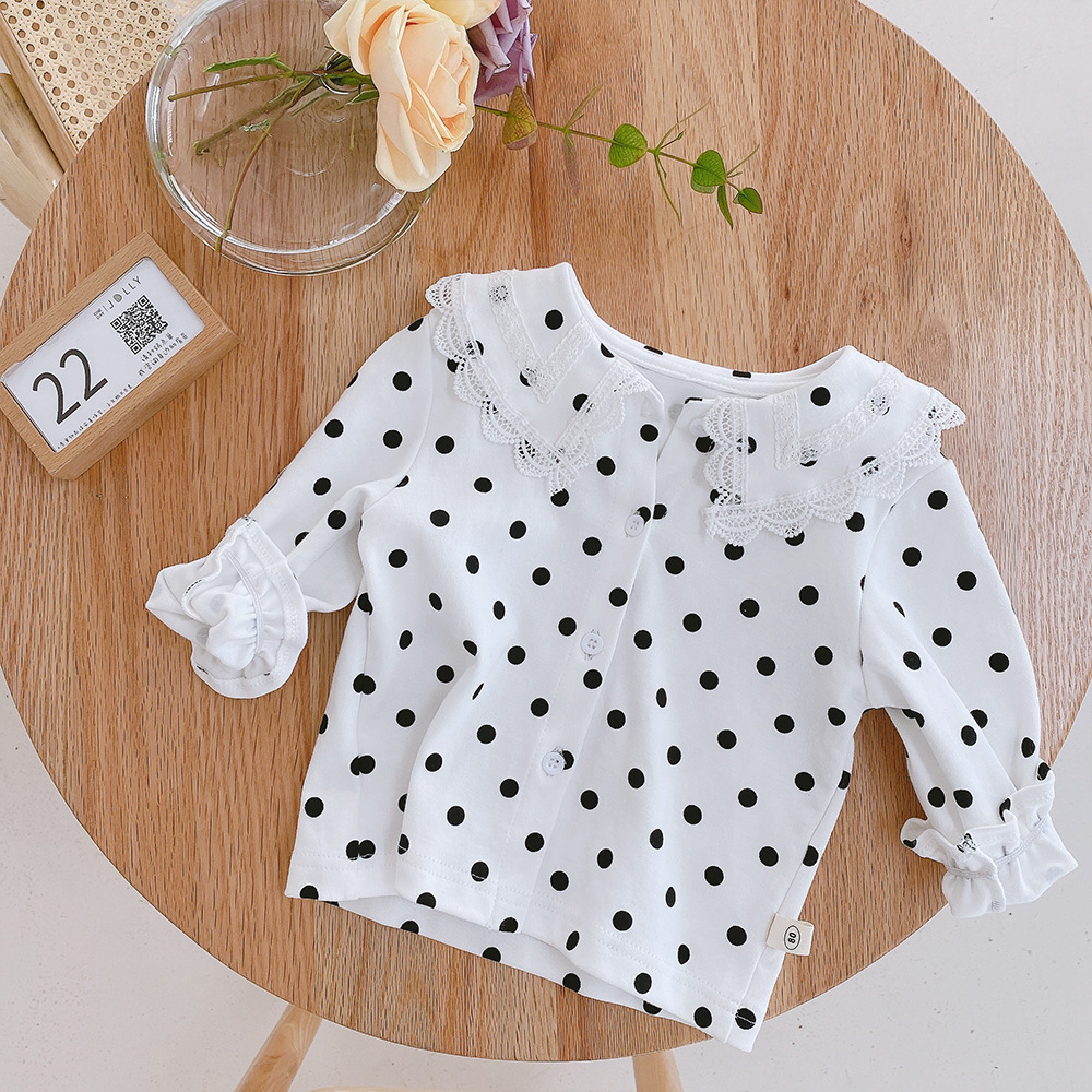 Soft Breathable Girls Lace Shirt Spring Fall Cotton Long Sleeve Baby Blouse Cozy Kids Bottom Shirt for Girls Children Tops