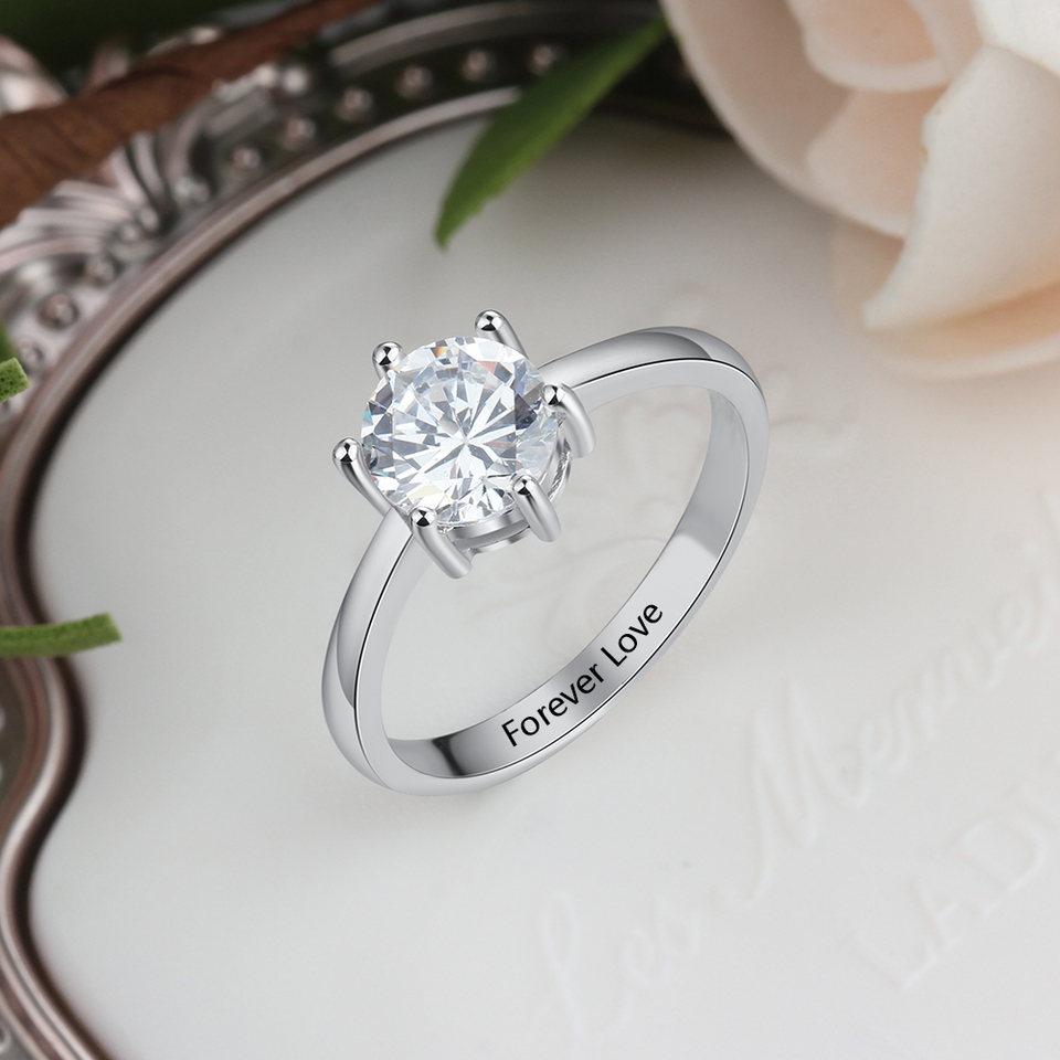 925 Sterling Silver Ring with Cubic Zirconia Free Engraving