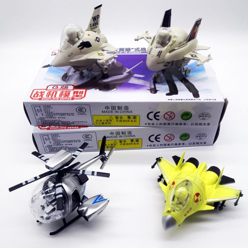 4 PCS/Set Q Version 4D Fighter Helicopter F18 F16 MD500 J15 Plastic Assemble Airplane Model Toy For Children