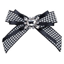 Vintage Fabric Houndstooth Bow Brooch Lapel Pin Necktie Ribbon Brooches Jewelry Luxury Crystal Broche Gift for Women Accessories vintage fabric houndstooth bow brooch lapel pin necktie ribbon brooches jewelry luxury crystal broche gift for women accessories