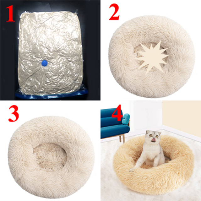 Long Plush Calming Pet Bed for Cat or Dog Round Plush Dog Mat Cats House Nest Soft Dog Basket Pet Cushion Portable Pets Supplies 4