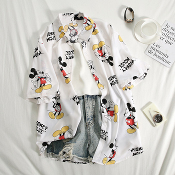 Print Cartoon Mouse Women Tops and Blouses Casual Lady Blouse White Shirts Women Blouses Plus Size Summer Shirt Female Blusas women s tops and blouses cotton white shirt line face print retro shirts with long sleeve white blouse lady spring summer xnxee