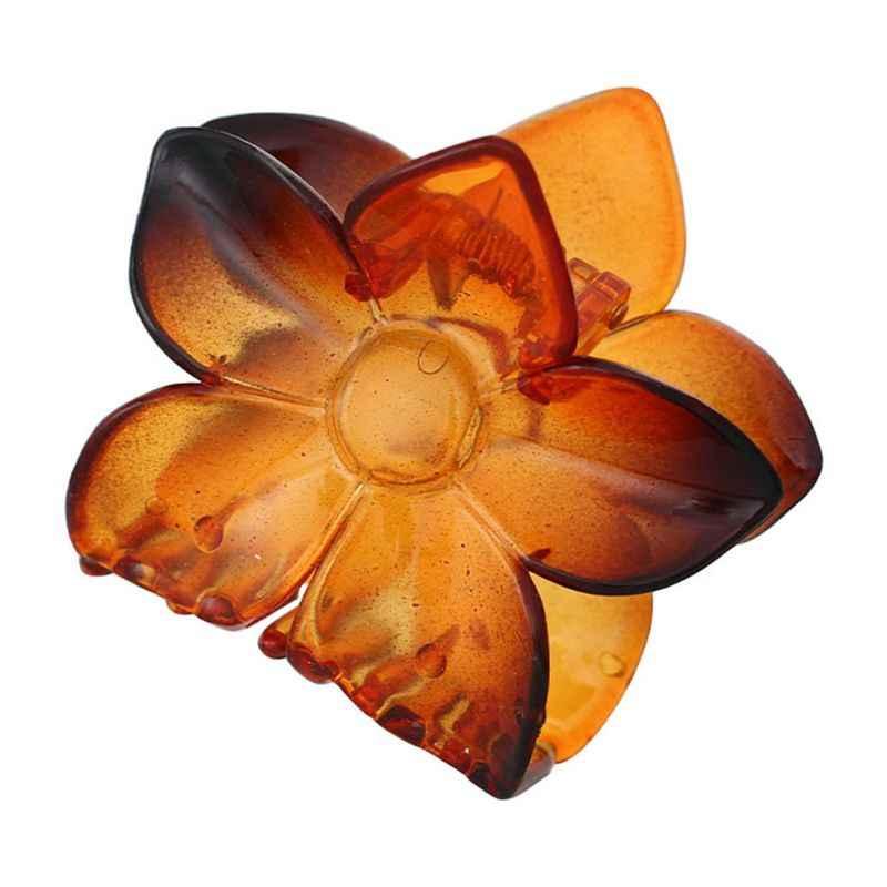 8.5cm שרף שיער טופר נשים כותרת מחודדת פרח בננה קליפ קוקו מהדק מוצק צבע אמבטיה מקלחת Barrette
