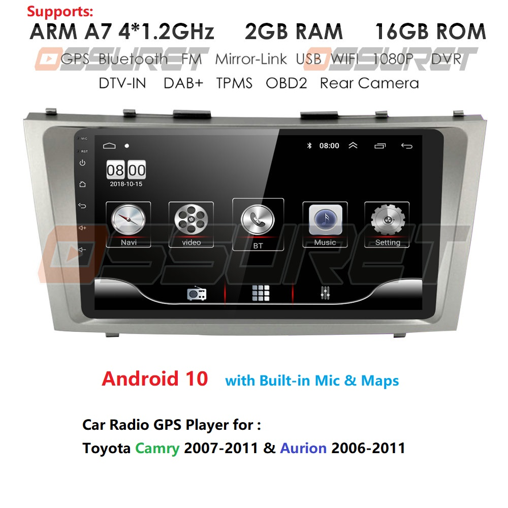 2din 9inch 2.5D Android 10 CAR DVD Radio Multimedia Player For Toyota Camry 2007 2008 2009 2010 2011 Navigation Gps