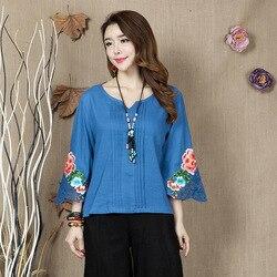 Luo cai xin Sommer Ethnic-Stil Baumwolle Leinen DAMEN Kleid Große Größe Stickerei Blume Shirt Shirt DAMEN Kleid Kurze halb Sle