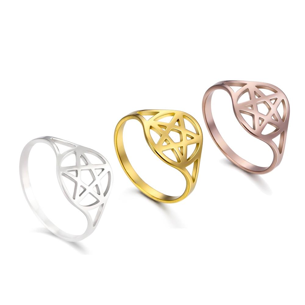 Skyrim Pentagram Hexagon Rings for Women Stainless Steel Star of David Jewish Finger Ring Religious Amulet Anniversary Jewelry