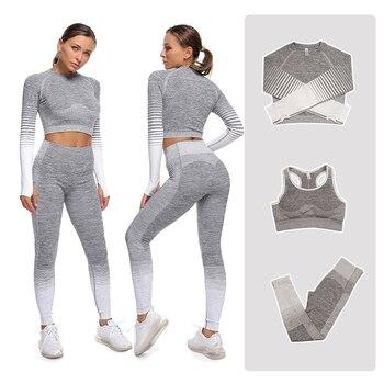 Conjuntos de Yoga para mujer, ropa deportiva para gimnasio, conjunto de 2 piezas de manga larga sin costuras, Leggings de cintura alta, traje deportivo de 3 uds.