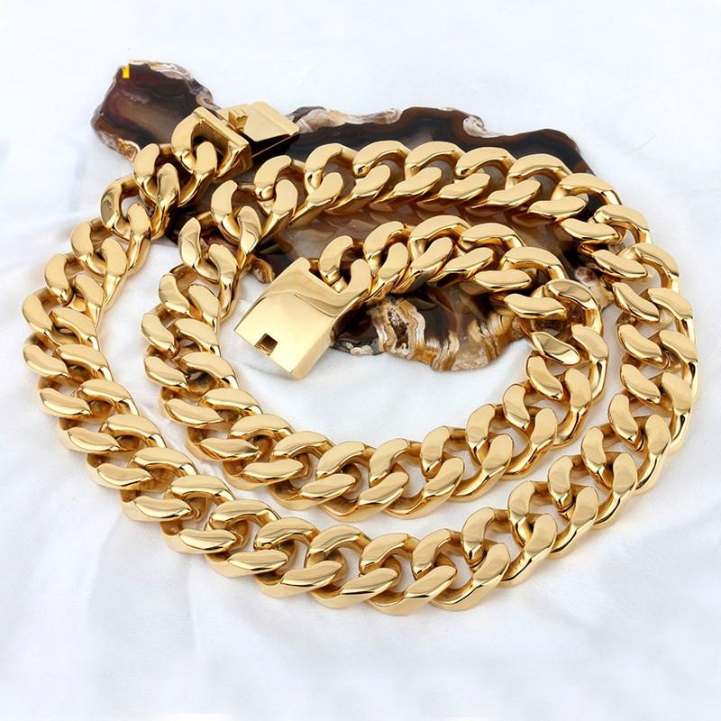 Surdimensionné cubain titane acier doré collier mâle hip hop hip hop chaîne cubaine