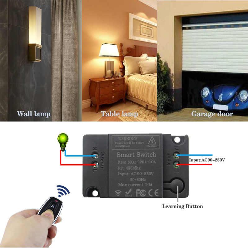 Drahtlose Fernbedienung Schalter AC 110V 220V 1CH Empfänger Modul und RF Transmitter Für Smart Home LED Licht fernbedienung DIY