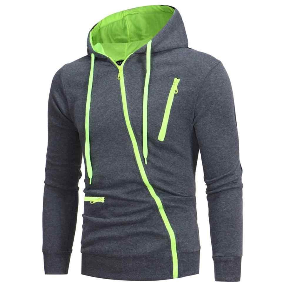Nowa bluza z kapturem mężczyzn 2020 wiosna na co dzień jednolity kolor, długi rękaw męskie bluzy z kapturem bluzy Slim bluza z kapturem na zamek błyskawiczny bluza męska z kapturem Streetwear0