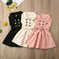 England Style Kids Baby Girls Bow Princess Dress Double Breasted Sleeveless Dress A-Line Elegant Girl Wedding Party Dress 1-6Y