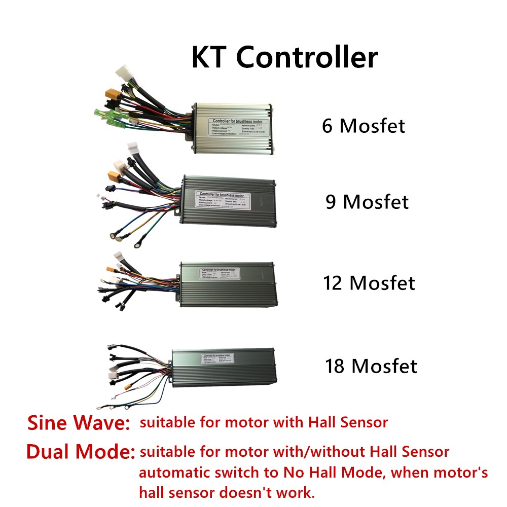 Electric Controller Ebike KT 6 9 12 18 Mosfet 36V 48V 250W 1500W 2000W Bluetooth