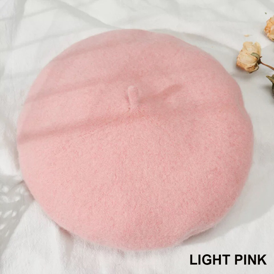 Женский берет для девушек, французский артист, теплая шерстяная зимняя шапка, шапка, винтажный однотонный берет, одноцветная элегантная женская зимняя шапка s - Цвет: Light pink
