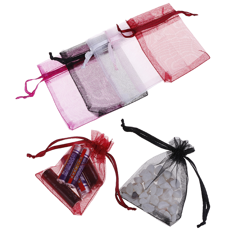 100Pcs/bag Rganza Drawstring Bags Jewelry Mesh Gift Pouches Container Drawstring Bags Candy Bags