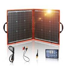 Dokio 80 واط لوحة طاقة شمسية 12 فولت/18 فولت مرنة قابلة للطي لوحة طاقة شمسية usb المحمولة مجموعة الخلايا الشمسية للقوارب/خارج الباب التخييم لوحة طاقة شمسية