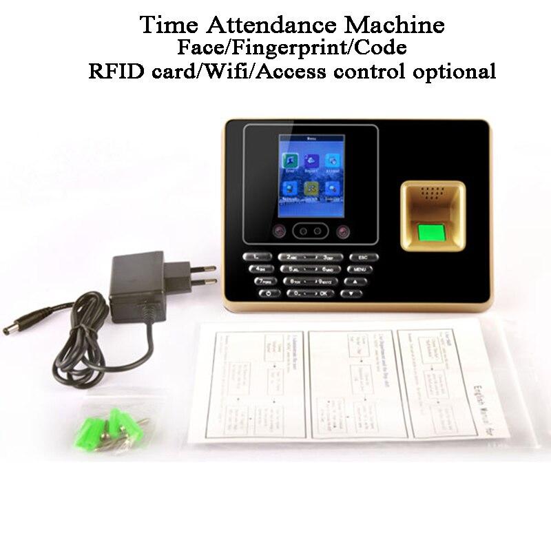 Machine de présence de temps de visage DC5V biométrique code d'empreintes digitales u-disk USB tcp/ip BS Wifi RFID carte employé de bureau Excel exportation