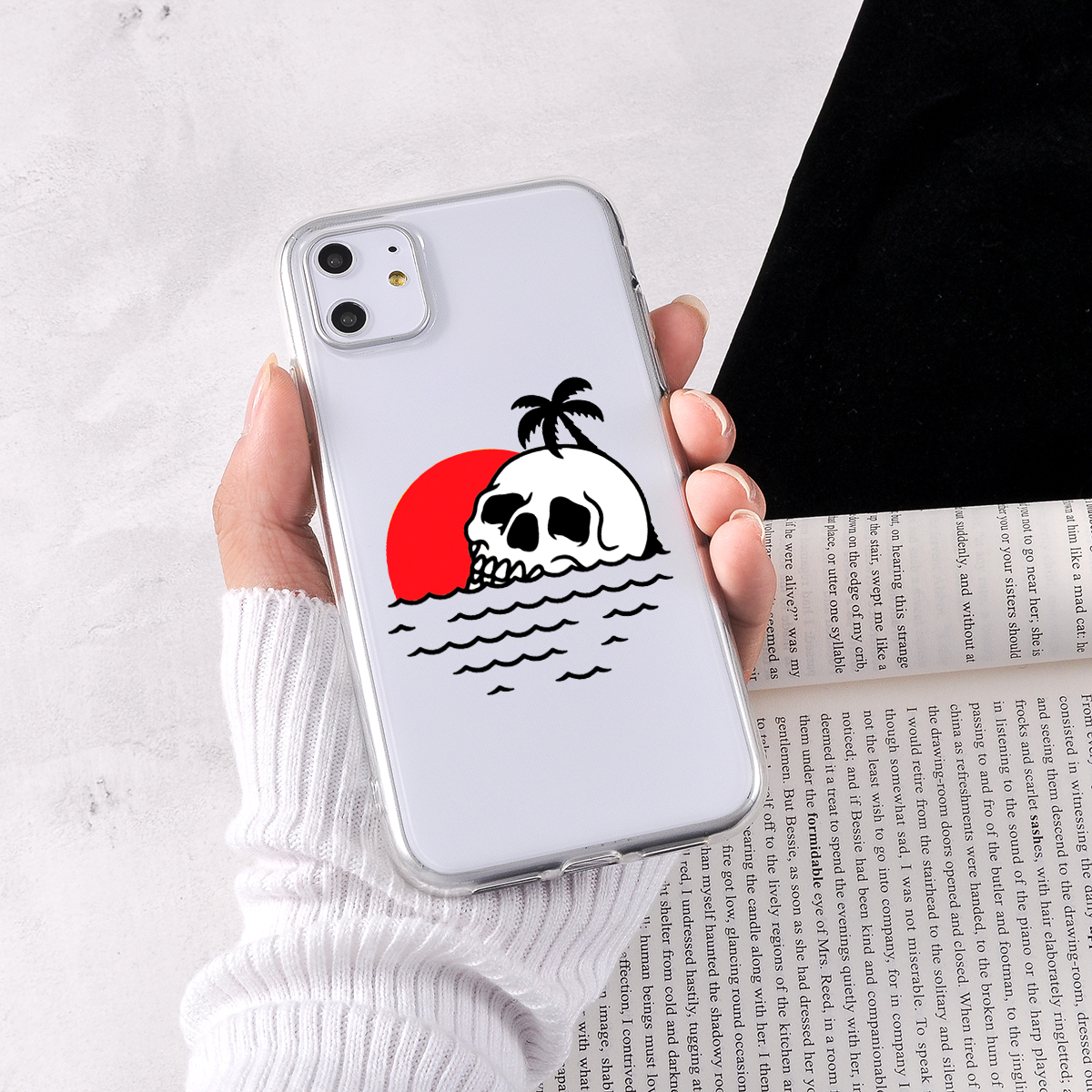 Cartoon Phone Case For Iphone 11 Pro Max X XS Max XR 6 6S 7 8 Plus 5 5S SE Case Transparent Soft Satanic Scary Skull Phone Cover