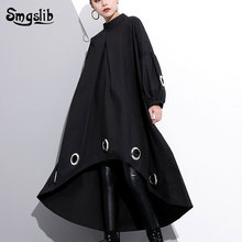 2019 New Spring Round Neck Long Sleeve Solid Color Black Metal Ring Big Size Hollow Out Dress Women Fashion Tide punk style solid color hollow out ring for women