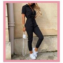 2020 moda femmes combinaisons preto macacão casual verão bodysuit cinto t camisas uma peça macacão plus size macacão roupas