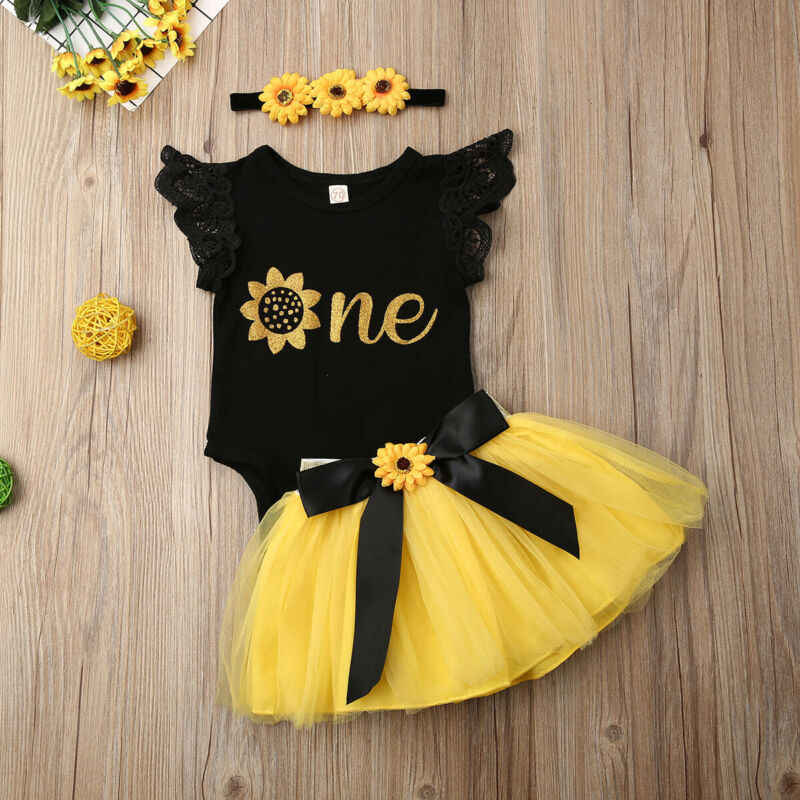 3Pcs Baby Girl One//Half 1st Birthday Outfits Sunflower Romper Tulle Tutu Skirt Set Party Dress Clothes