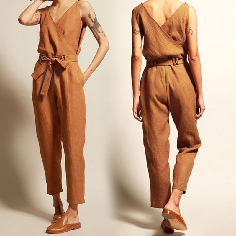 New spring summer jumpsuit women solid loose rompers body suit black sleeveless plus size jumpsuits women clothes belt overalls