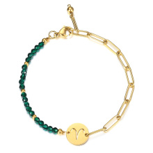 Zodiac Sign Constellation Charm Bracelet for Women Gold Stainless Steel Rolo Box Chain Green Faceted Beads Bracelets Ladie DB293