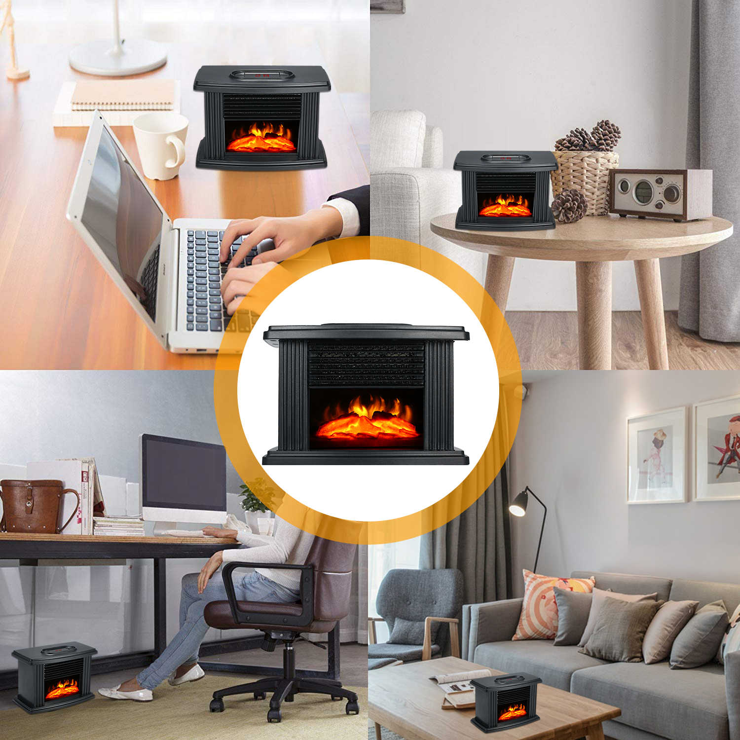 New 1000W Mini Electric Fireplace Warm Air Heater with Flame Effect for Winter Cold Weather 220V 50Hz Desktop Air Blower Fan