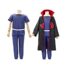 K171 Blood Red Naruto Ninja Akatsuki Itachi Cloak Uchiha Itachi Costume Cosplay