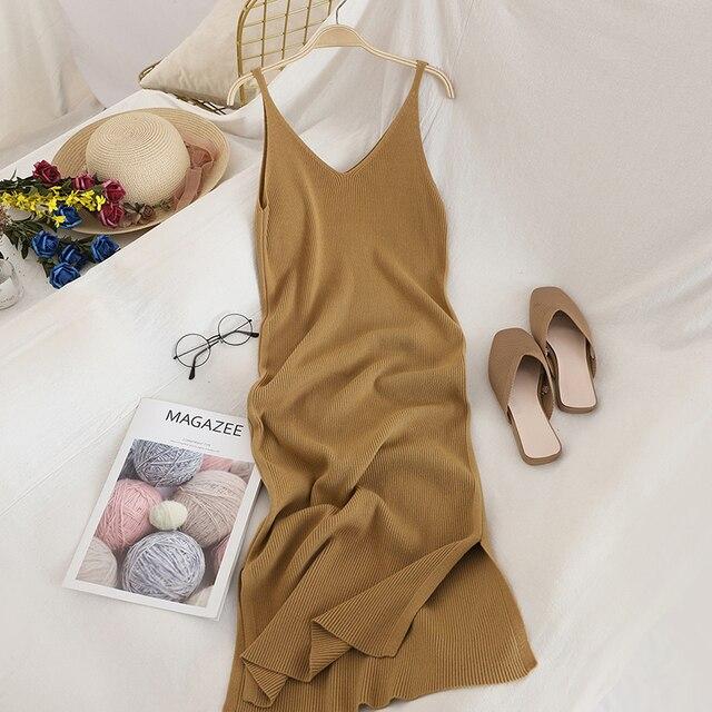 V Neck Solid Knitted Dress 2