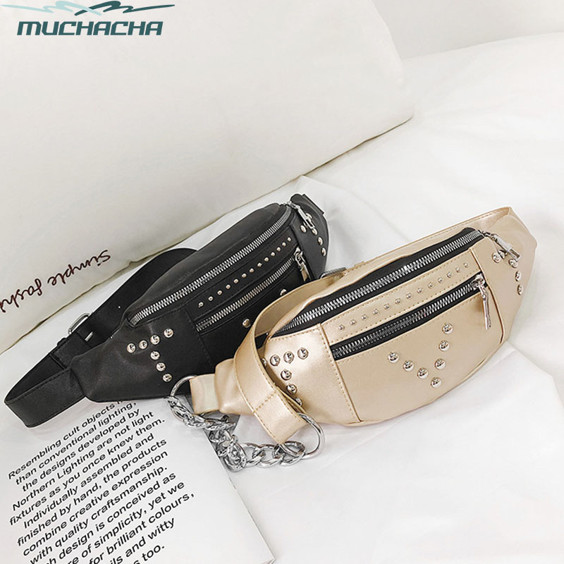 Dropship Fashion Women Rivet Waist Bag Travel Unisex Lady Dress PU Leather Shoulder Chest Fanny Pack Bag