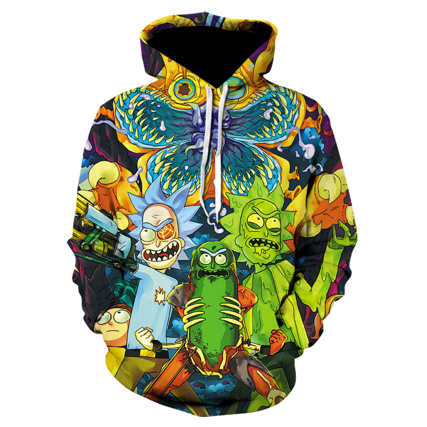2019 Fashion Brand 3d Hoodies Cartoon Rick And Morty Print Women/Men Hoody Streetwear Casual Hooded Sweatshirts Pullover Nasa