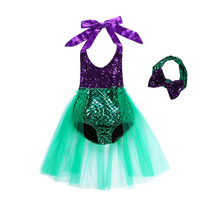 Little Girl Mermaid Dress Kids Summer Beach Outfit Children Halloween Yellow Costume Pool Party Swimsuit Swimming Clothing