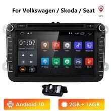 DVD de voiture pour Volkswagen, lecteur 2 Din, Android 10, écran 8 pouces, pour modèles Polo, Golf 5, 6, Passat B6, CC, Jetta, Tiguan, Touran, EOS, Sharan, Scirocco, Caddy, avec 4 G, GPS de navigation