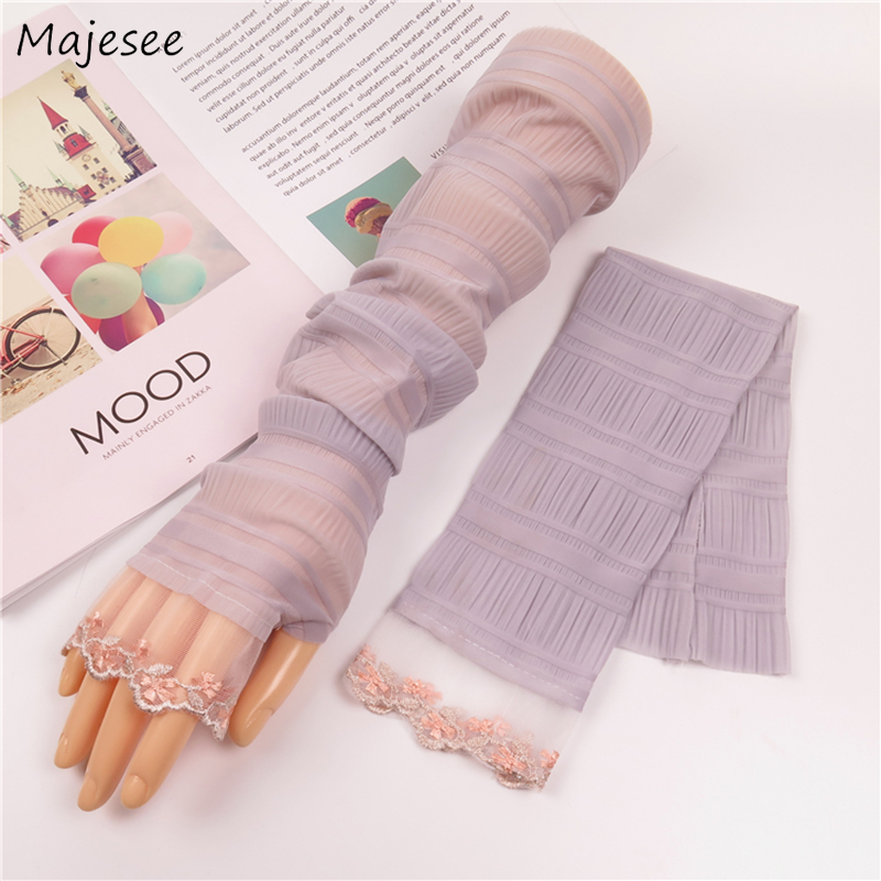 Arm Warmers Women Summer Pink Sweet Breathable Long Sun-proof Lace Solid Casual Womens New All-match Korean Style Daily Females
