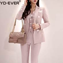 2019 Office Ladies Striped 3 Pieces Set Double Breasted Slim Blazer & Patchwork Tops & High Waist Pants Women Pant Suits(China)