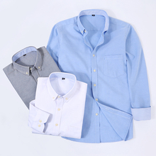 DAVYDAISY 2019 New Arrival Men Shirt Long Sleeve Oxford Autumn Fashion Causal Solid Twill Plaid Man Shirts Brand Clothes DS341