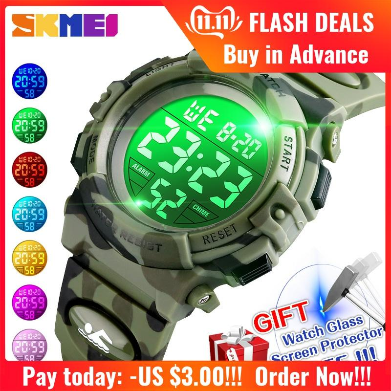 <font><b>SKMEI</b></font> Kids Watch Sport Children's Watch 5bar Waterproof Colorful Lights 12/24Hour Camouflage relogio infantil Fashion Boy <font><b>1548</b></font> image