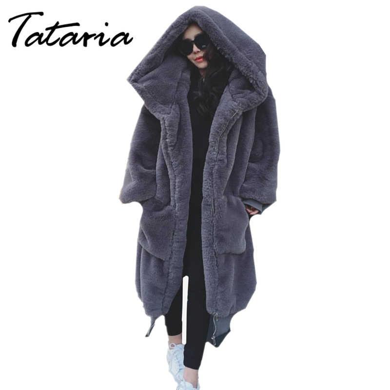 Tataria女性の冬ロングテディベアジャケットコート女性の模造ミンク付きロングの女性の毛皮のフェイクファー豪華なジャケット