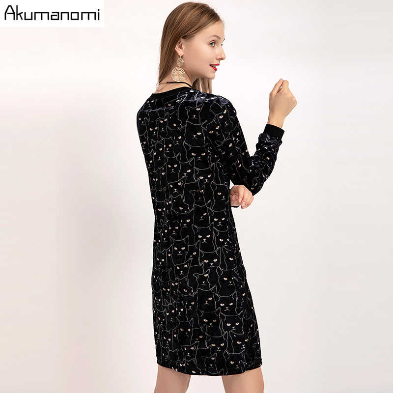 Sonbahar kadife kadife elbise v yaka tam kollu kadın giyim bahar kedi baskı parti elbise artı boyutu 5XL Robe Femme jurken Jurk