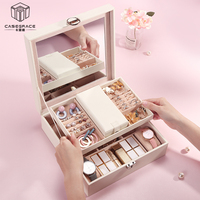 Casegrace 2019 Large Capacity Leather Multi Layer Portable Jewelry Box Organizer Home Organization and Storage Makeup Organizer