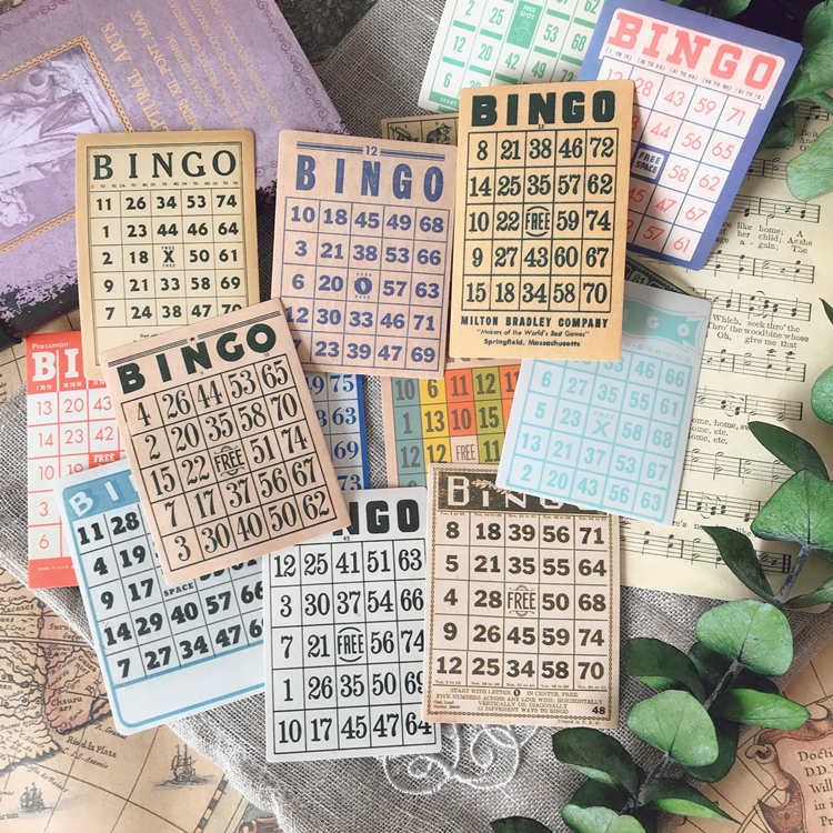 15Pcs/Set Vintage European BIngo Card Sticker DIY Craft Scrapbooking Album Junk Journal Planner Decorative Stickers