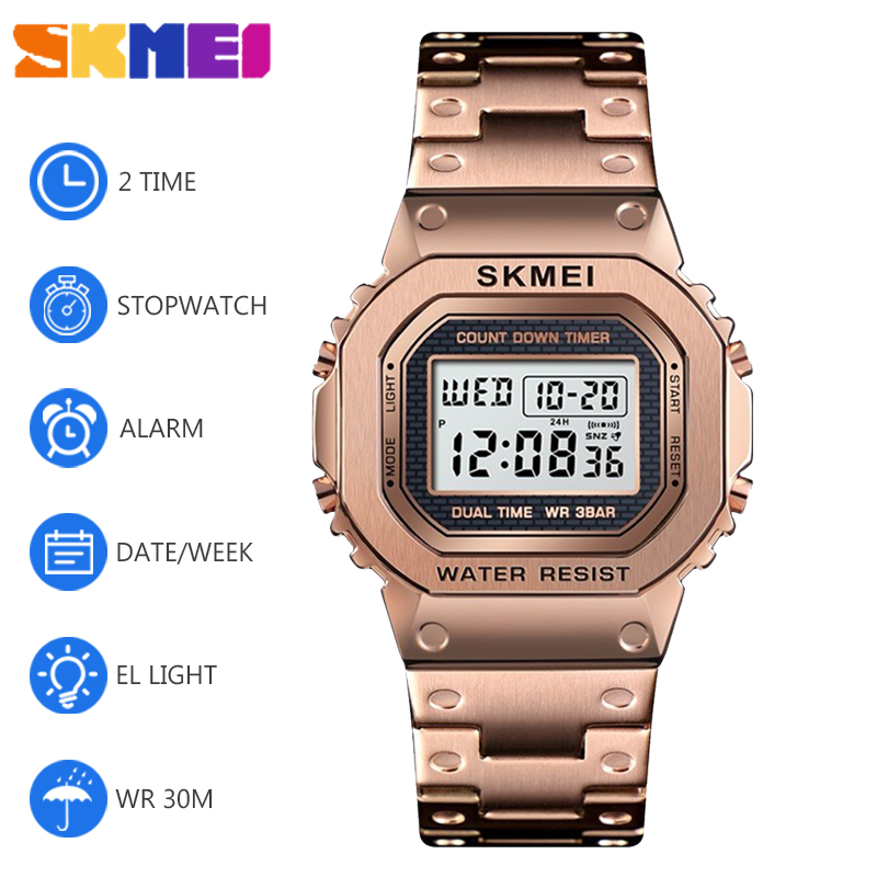 SKMEI Couple Watches Women Men EL Light Digital Watch Sports 50M Waterproof Chronograph Alarm Colock Wriswatch Reloj Hombre