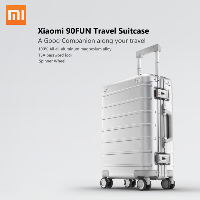 Xiaomi Spinner Wheel Luggage Travel Suitcase 20 inch Carry on with Y belt Pull rod top grade all aluminum magnesium alloy