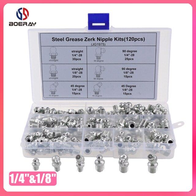 """120pcs SAE Standaard 1/4 """" 28 1/8"""" 28 90 Graden en 45 Graden en Rechte Type hydraulische Grease Zerk Fitting"""
