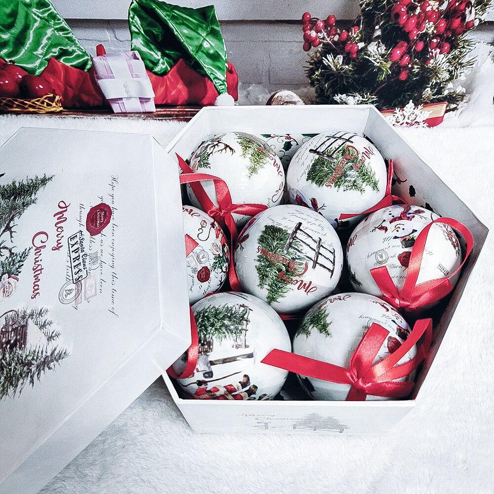 Рождественские подвесные украшения для рождественской елки подвесной шар-безделушка украшения с веревкой домашнего праздника с утолщённо...