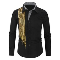 Black Shirt Bronzing Wedding Party Mens Shirts Slim Fit Banquet Luxury Spring Long Sleeve Shirts Fashion Top