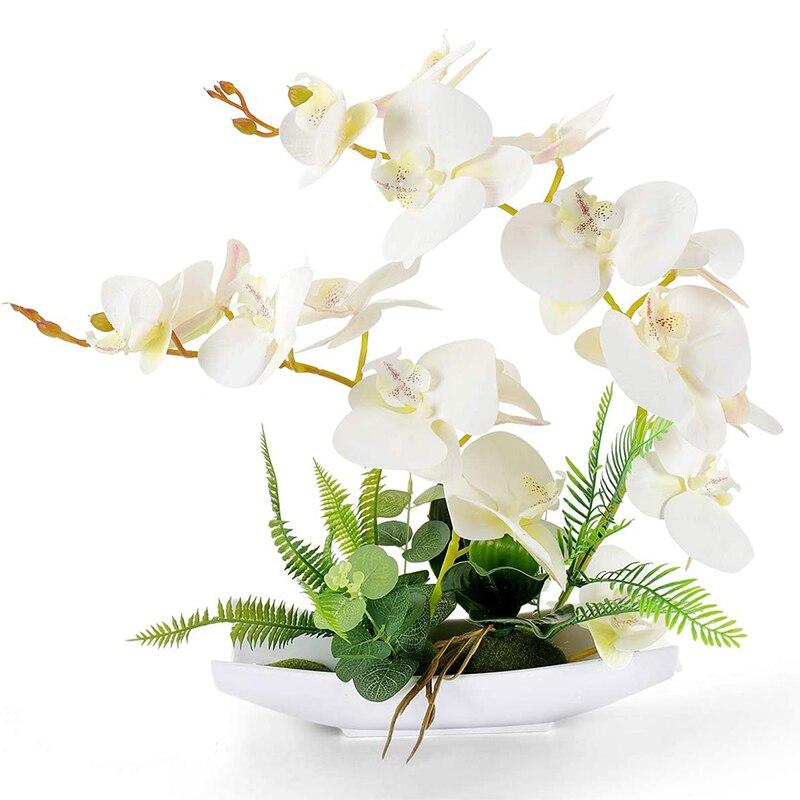 Orchid Bonsai Artificial Flowers with Imitation Porcelain Flower Pots Phalaenopsis Fake Flowers Arrangements for Home Decoration