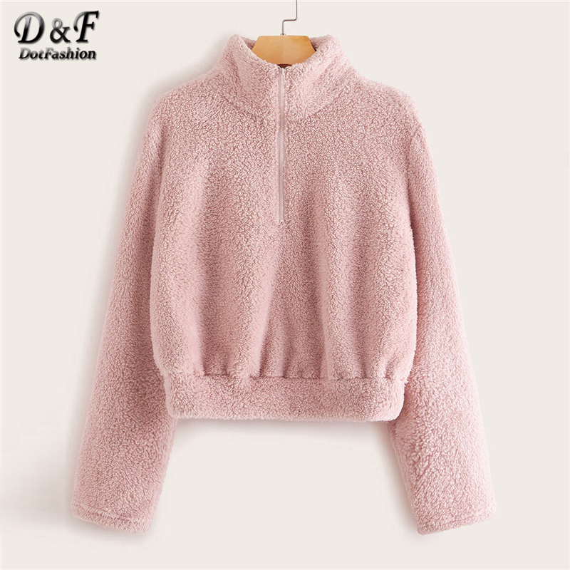 Dotfashion Pink Casual Front Zipper Detail Teddy Sweatshirt Women 2019 Winter Solid Stand Collar Sweet Sweatshirts