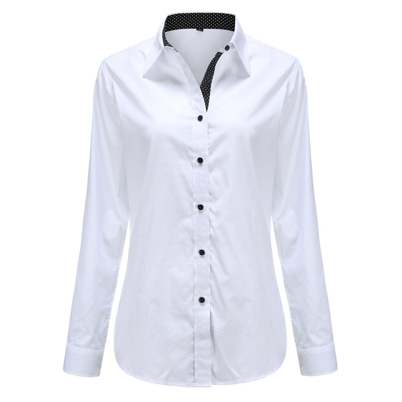 Dioufond Women Long Sleeve Shirt Fashion Clothes White Black Slim Patchwork Dot Cotton Blouse Office Ladies Plus Size Formal Top