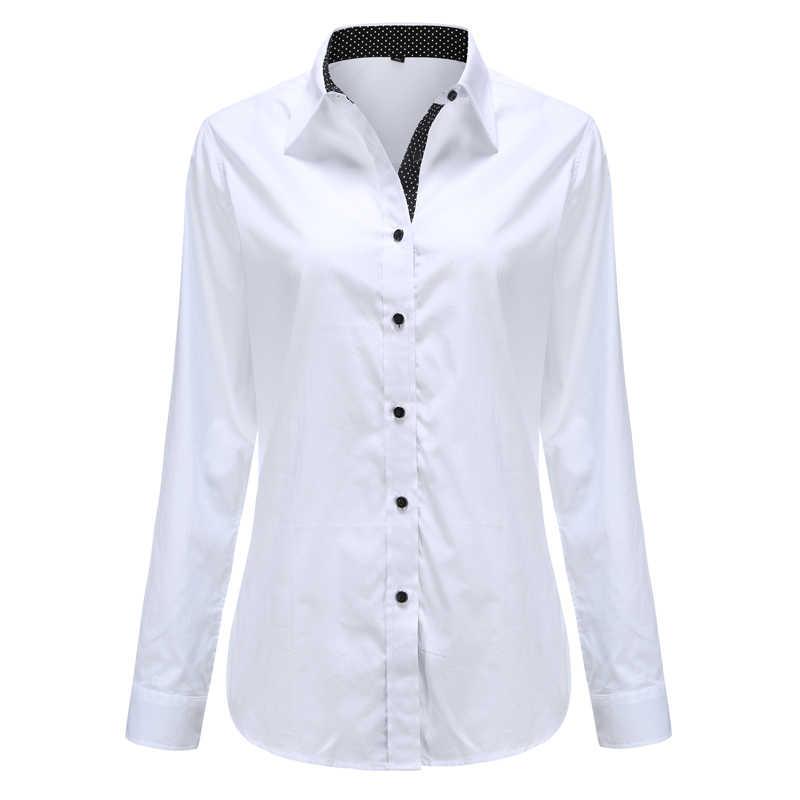 Dioufond женская рубашка с длинными рукавами модная одежда белая черная тонкая Лоскутная хлопковая блузка в горошек офисный Женский Плюс Размер формальный Топ